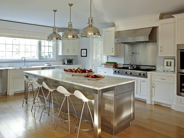 Stainless Steel Kitchen Island With Marble Countertops And Onda Barstools Transitional Kit Kitchen Island With Seating Kitchen Island Design Kitchen Design