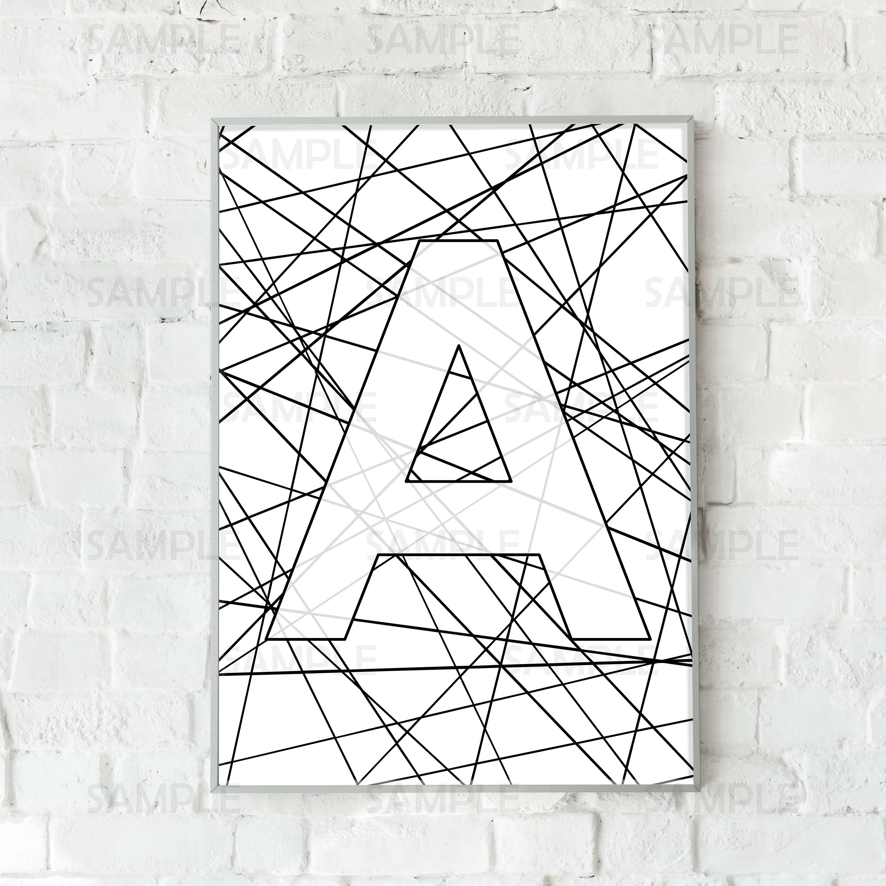 Personalized Initial Letter A Wall Art Black White Print Printable Decor Personalized Gift Initial Wall Art Personalised Gifts Diy Gallery Wall Decor