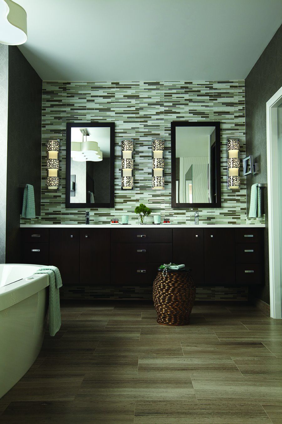 Awesome double vanity in the master bath with a tiled back wall and ...