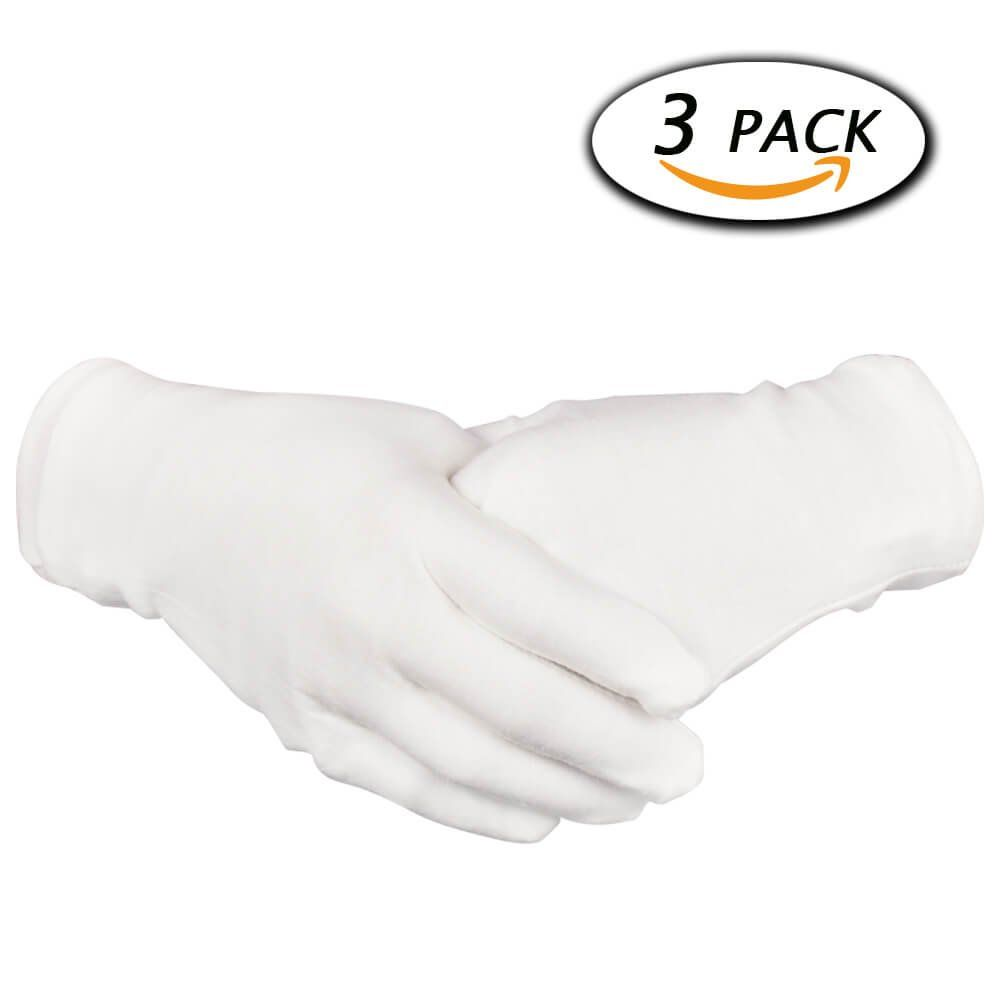 Paxcoo 3 Pairs White Cotton Gloves For Dry Hand Cosmetic