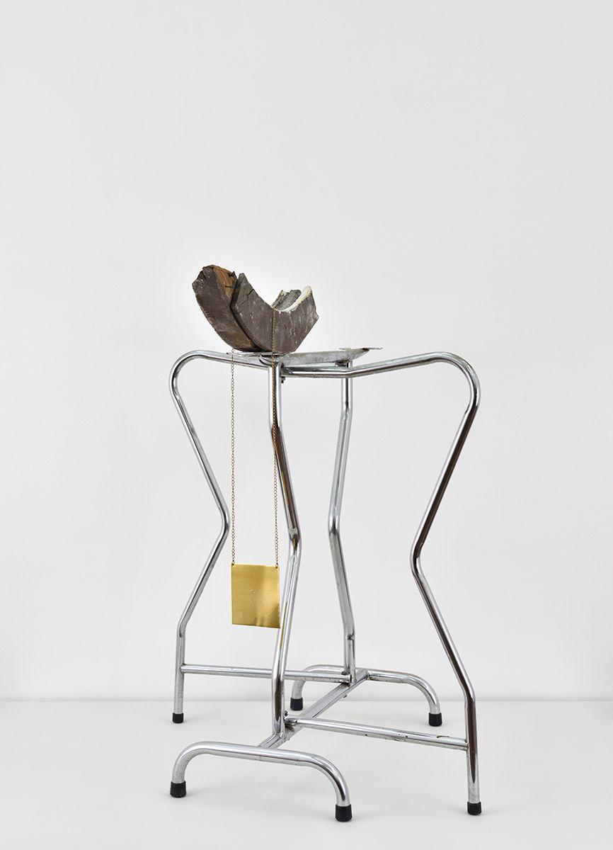 Sergio Verastegui Sergio Verastegui, Run away, 2016 Steel, paint on wood, cautchouc, engraved plate, 75 x 90 x 85 cm