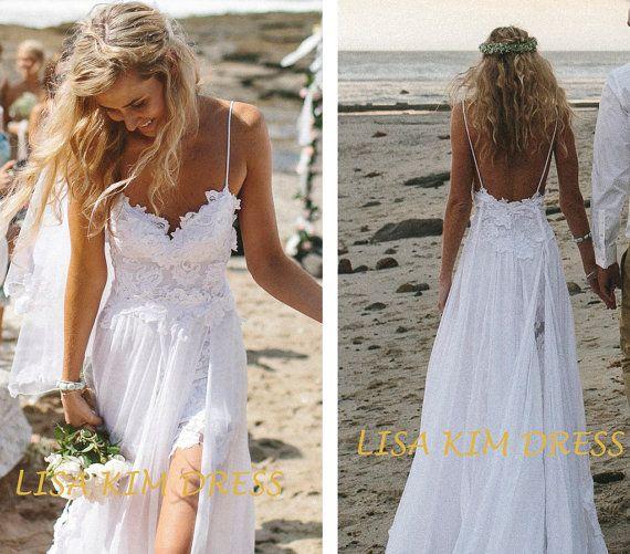 b72b31afeaa15 2014 Summer Wedding Dress Spaghetti Tops Hot Backless Wedding Dress Beach  dress Floor Length Dress Your best choice for wedding in summer. on Etsy