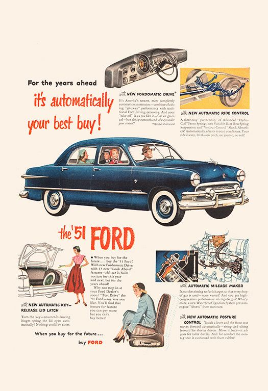 VINTAGE FORD CAR Ad – Classic Car Ad Mid-Century Poster – Garage Mechanic Shop 1951 Ford Ad Classic Car Poster 1950's Car Art