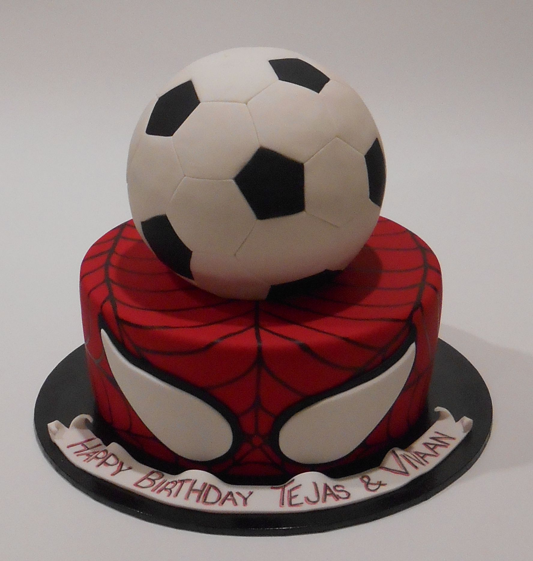 Soccer and Spiderman Themed Birthday Cake by Nadas Cakes