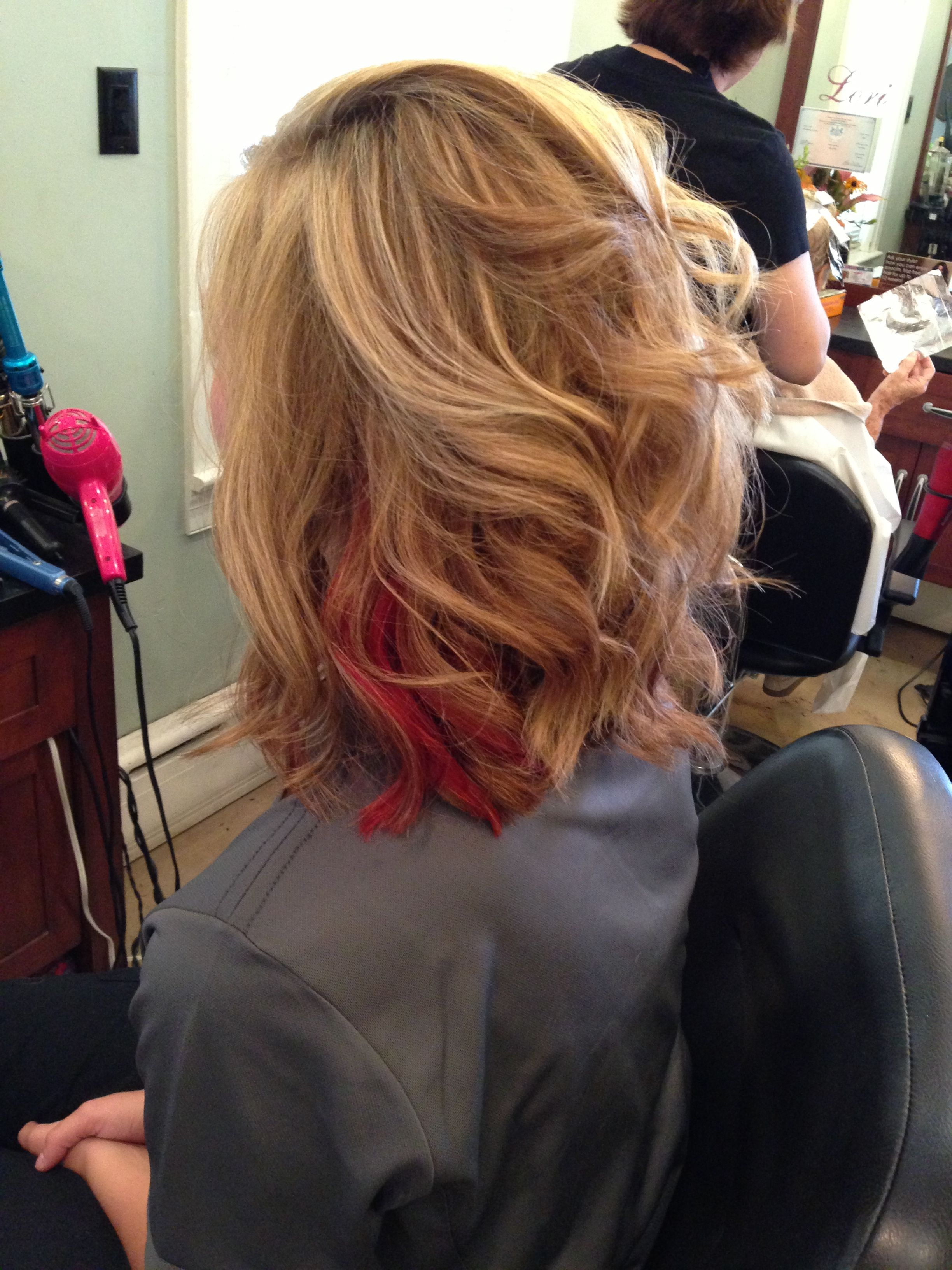 Blonde highlights with a pop of red underneath | Hair ...