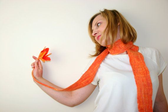 Felted scarf orange handfelted sash handmade scarf felt by Filtil, $31.00