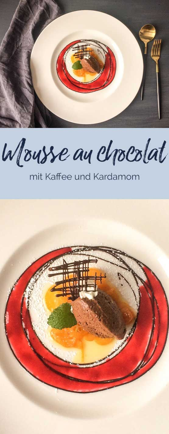 Mousse au chocolat mit Kaffee und Kardamom ZUTATEN 3 Eigelbe 50 g Zucker 3-5 EL starker Kaffee oder Espresso (zubereitet) 1/2 TL Kardamom 35 g Butter 300 g Zartbitter-Kuvertüre 1 Blatt Gelatine 1 Eiweiß 1 Prise Salz 375 g Schlagsahne #mousse #schokolade #dessert #nachtisch #patisserie