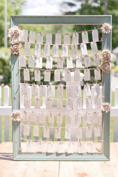 Rustic frame decor: http://www.stylemepretty.com/2014/12/05/whimsical-summer-wedding-at-highlands-country-club/ | Photography: Cassi Claire - http://www.cassiclaire.com/