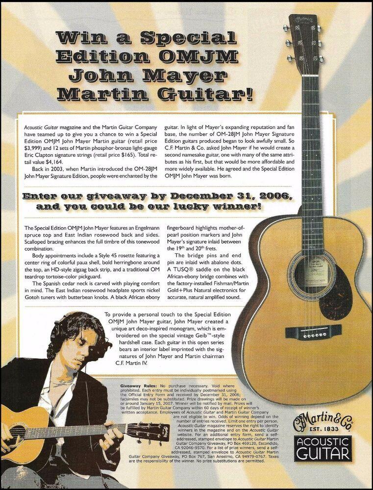 John Mayer Signature Martin Omjm Acoustic Guitar 2006 Contest 8 X 11 Ad Print Acoustic Guitar Guitar John Mayer