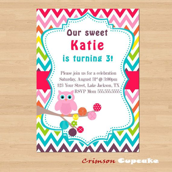 Printable Rainbow Chevron Birthday Party Invitation Cute Owl