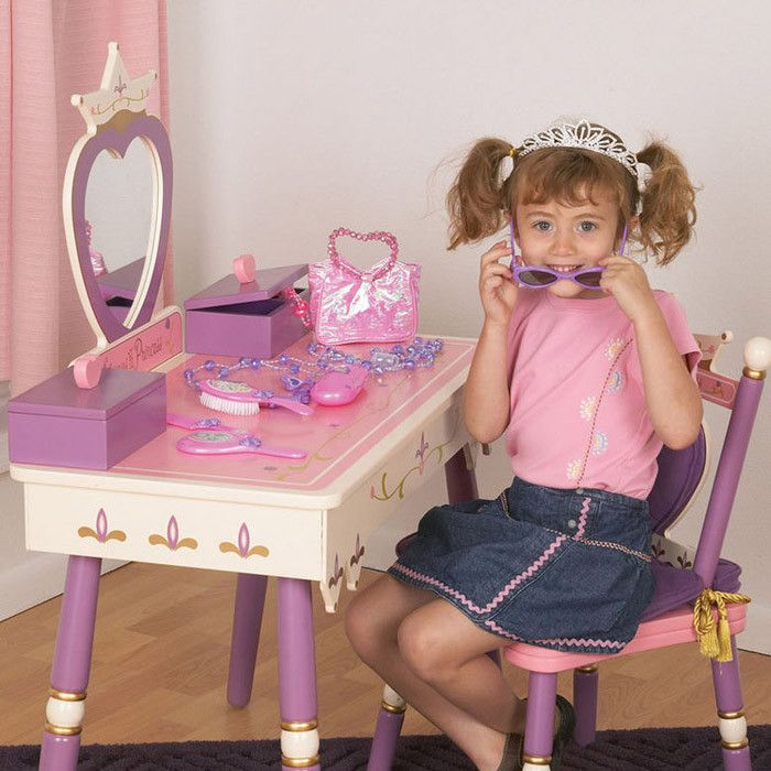 Levels Of Discovery Princess Vanity Set With Mirror Kids Vanity Toddler Girl Toys Vanity Set With Mirror