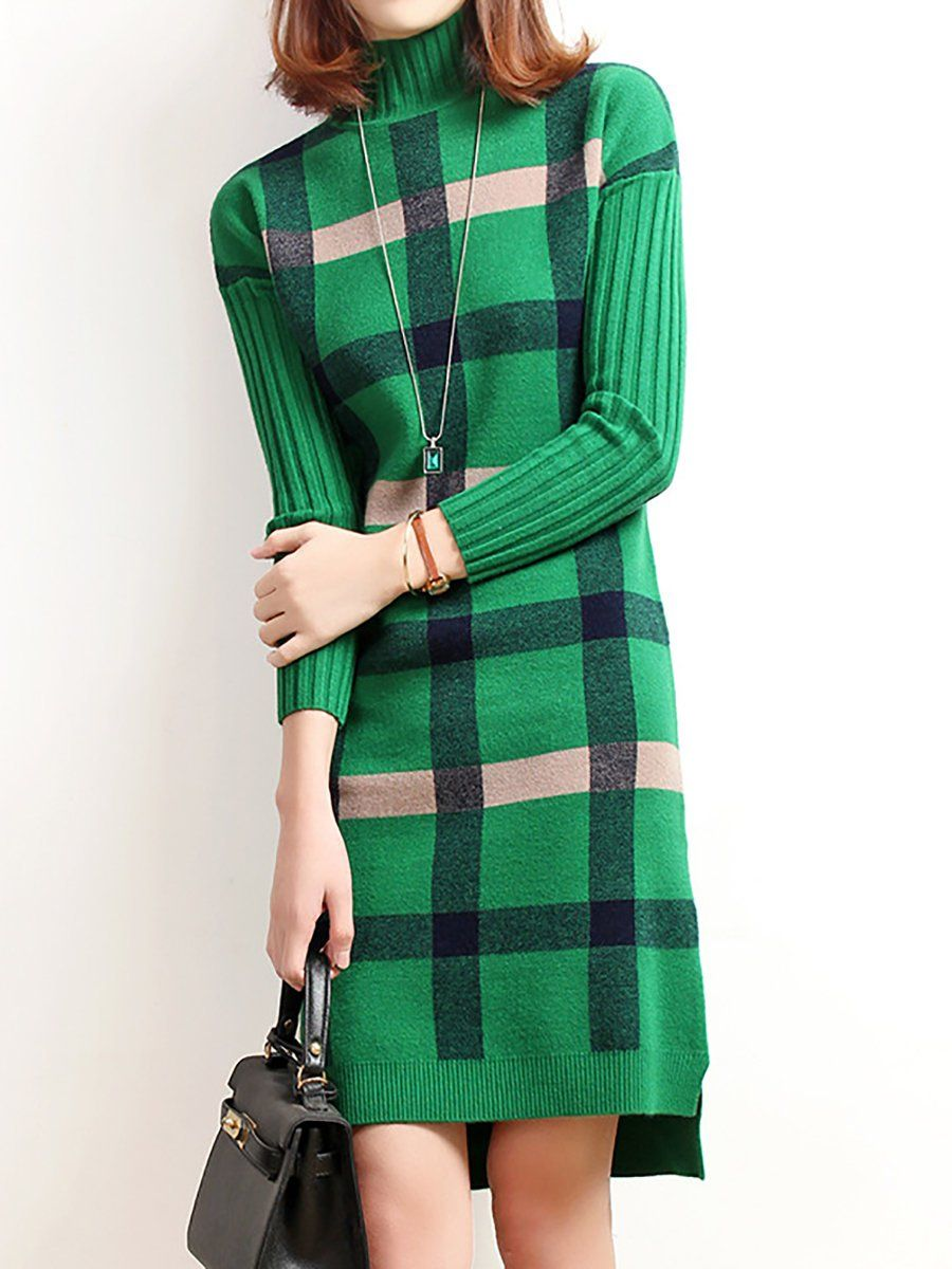 a20cfc6f57 Turtleneck Long Sleeve Checkered plaid Sweater Dress - StyleWe.com ...