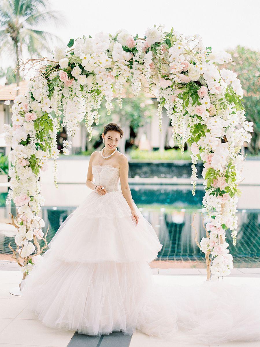 Makeup with light pink dress  Multilayered tulle ruffles on a stunning light pink wedding dress