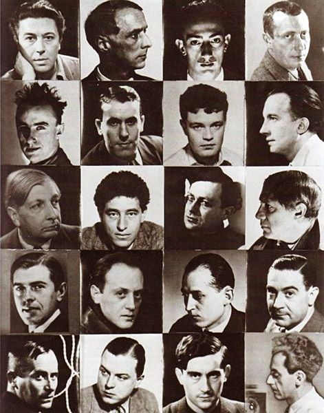 Surrealist Chessboard by Man Ray - a mosaic of portraits Man Ray had done of the members of the movement. From top left-hand corner they are:Breton, Ernst, Dalí, Arp, Tanguy, Char, Crevel, Eluard, De Chirico, Giacometti, Tzara, Picasso, Magritte, Brauner, Peret, Rosey, Miro, Mesens, Hugnet, Man Ray himself.