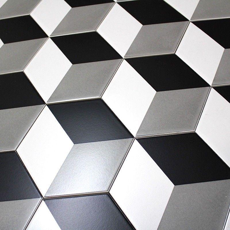Carrelage imitation ciment noir et blanc hexagonal cim Carreaux de ciment noir et blanc