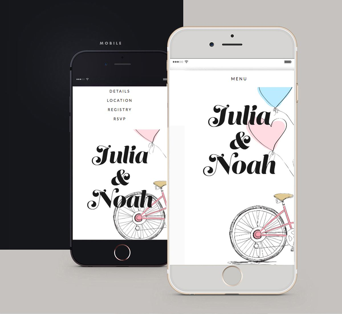 Mobile, Cute wedding website, custom wedding website, bespoke ...