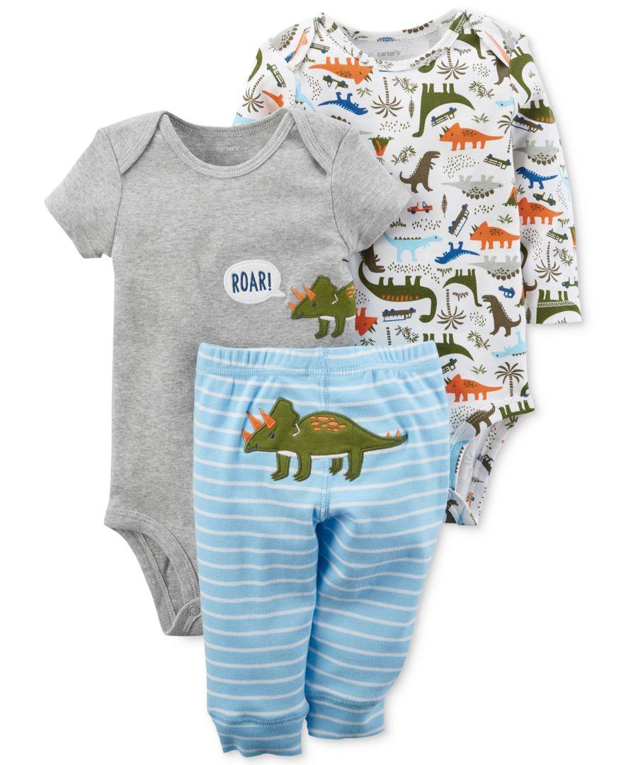 b16260413 Carter's 3-Pc. Cotton Dinosaurs Bodysuits & Pants Set, Baby Boys ...