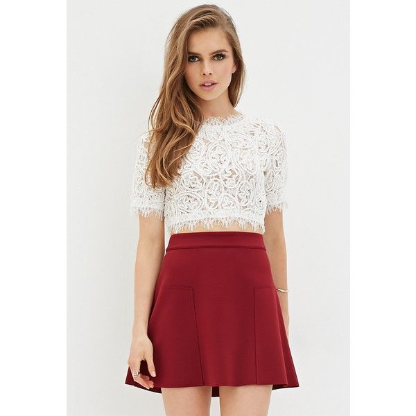 Forever 21 Women's  Raw-Cut Skater Skirt ($6) ❤ liked on Polyvore featuring skirts, mini skirts, circle skirt, skater skirt, flared skirt, forever 21 skirts and forever 21