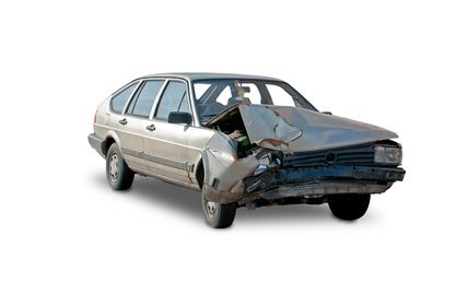 Car Accident Destroyed Car White Background Leadership