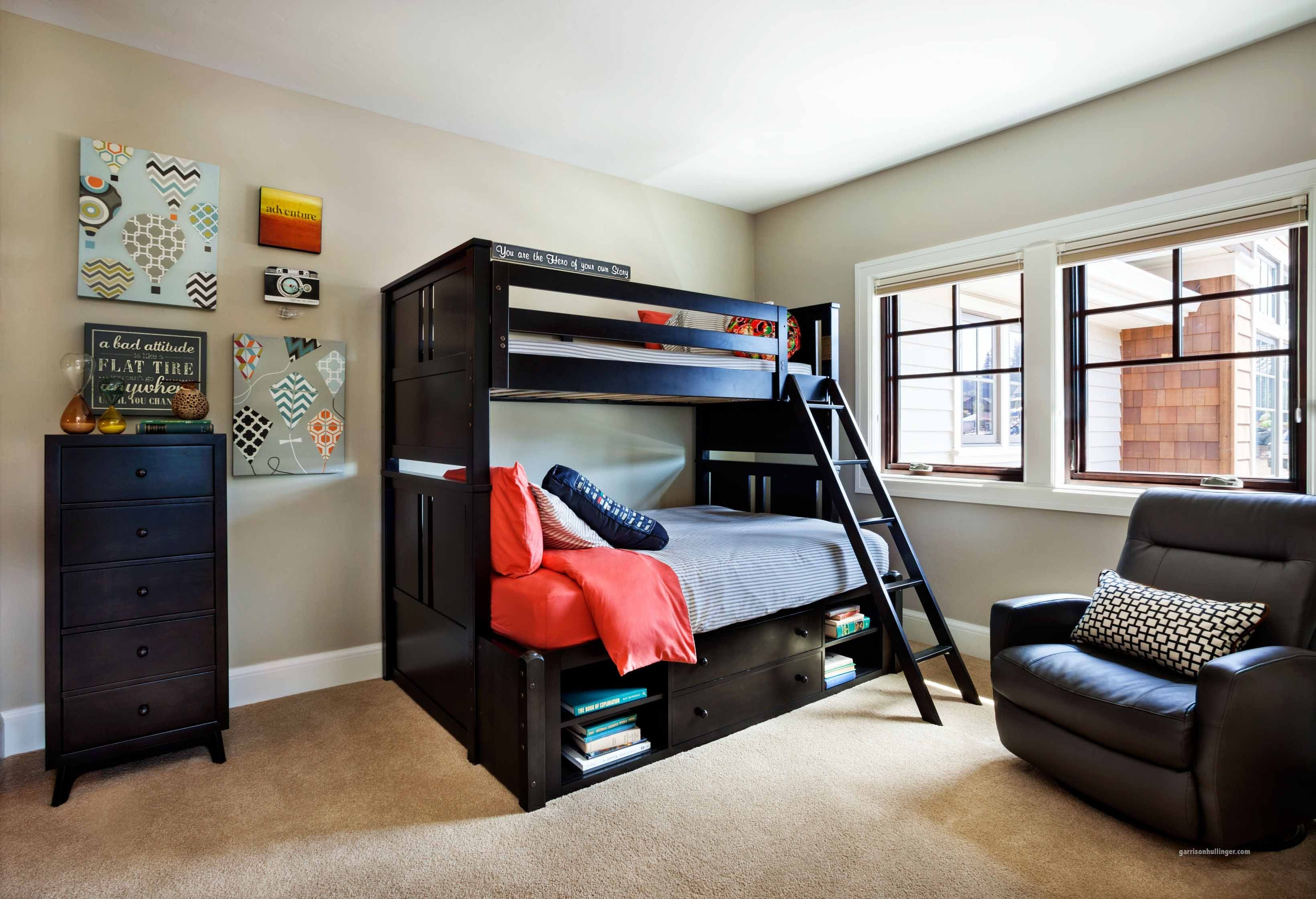 Bedroom: Showy Teenage Boy Room With Black Wooden Bunk Bed And Single Sofa  Chair Also Chest Of Drawer As Storage. Room For Teenagers, A Boys Bedroom,  ... Part 53