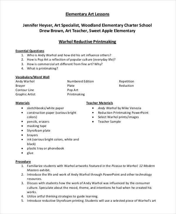 high school art lesson plan template best of 47 lesson