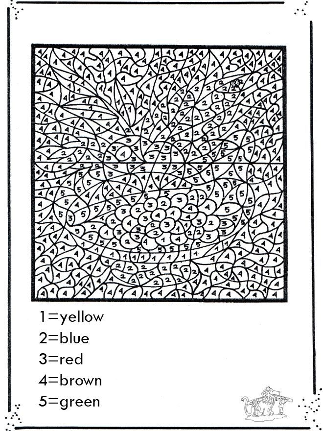 Difficult color by number printables for Hard printable coloring pages