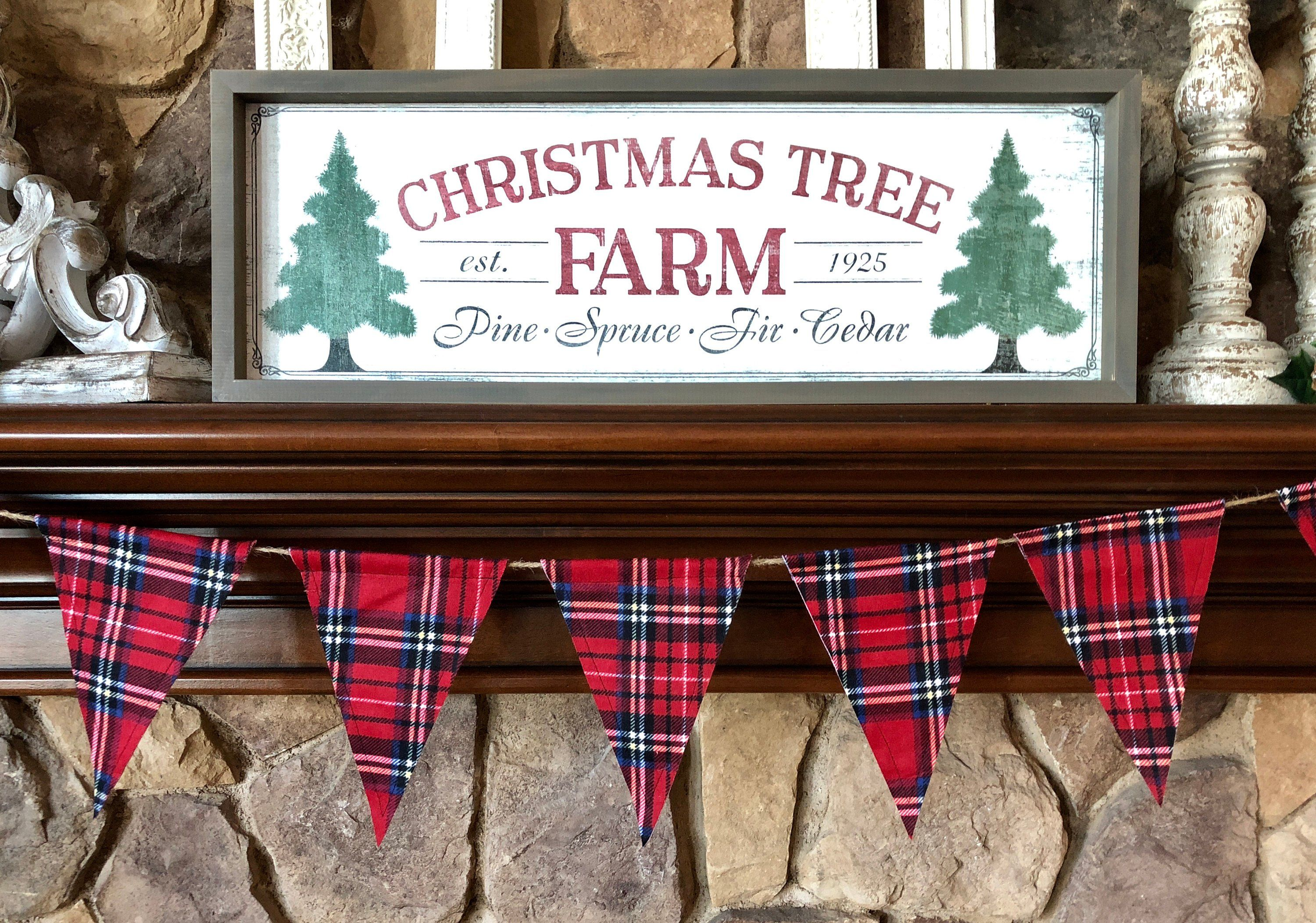 Red Christmas Plaid Flannel Fabric Flag Banner Holiday Decor