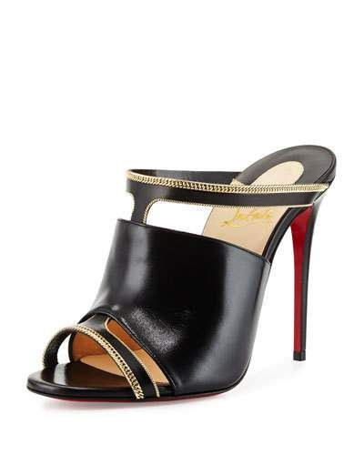 X2PRK Christian Louboutin Akenana Red Sole Mule Pump, Black/Gold