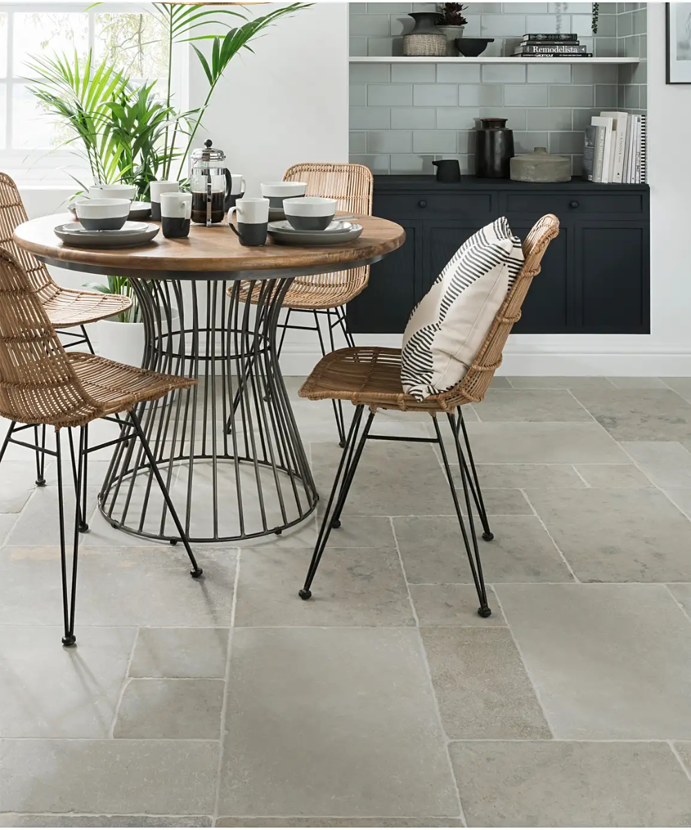Amazone Beige Modular Tumbled Tile In 2020 Topps Tiles Round Dining Table Round Dining