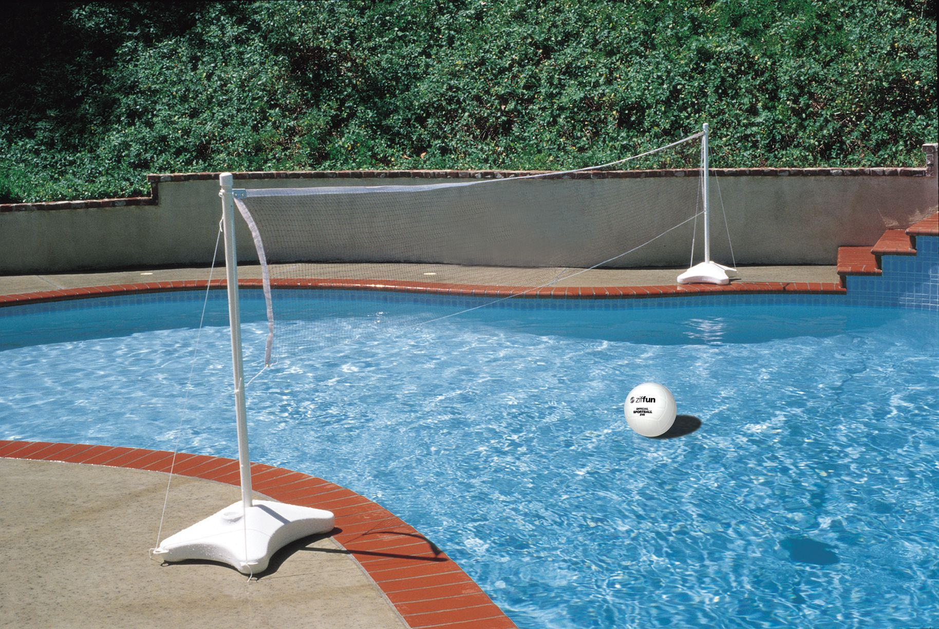Poolside Volleyball Game Play Anywhere Features Two 48 96 Telescoping Poles 16 25 Net Sports Ball And Two Support Bases Volleyball Set Pool Games Pool