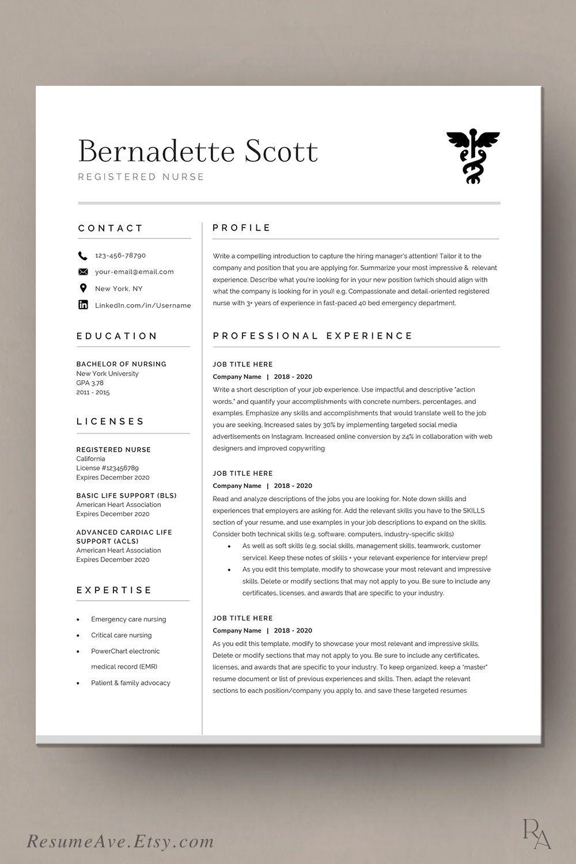Modern nurse resume template cv template for digital