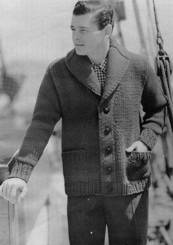 Men\'s Vintage Shawl-collar Cardigan -- Chunky Knit -- PDF KNITTING ...