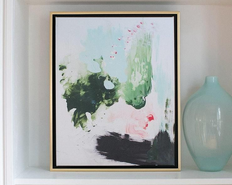 Peppermint moss abstract canvas