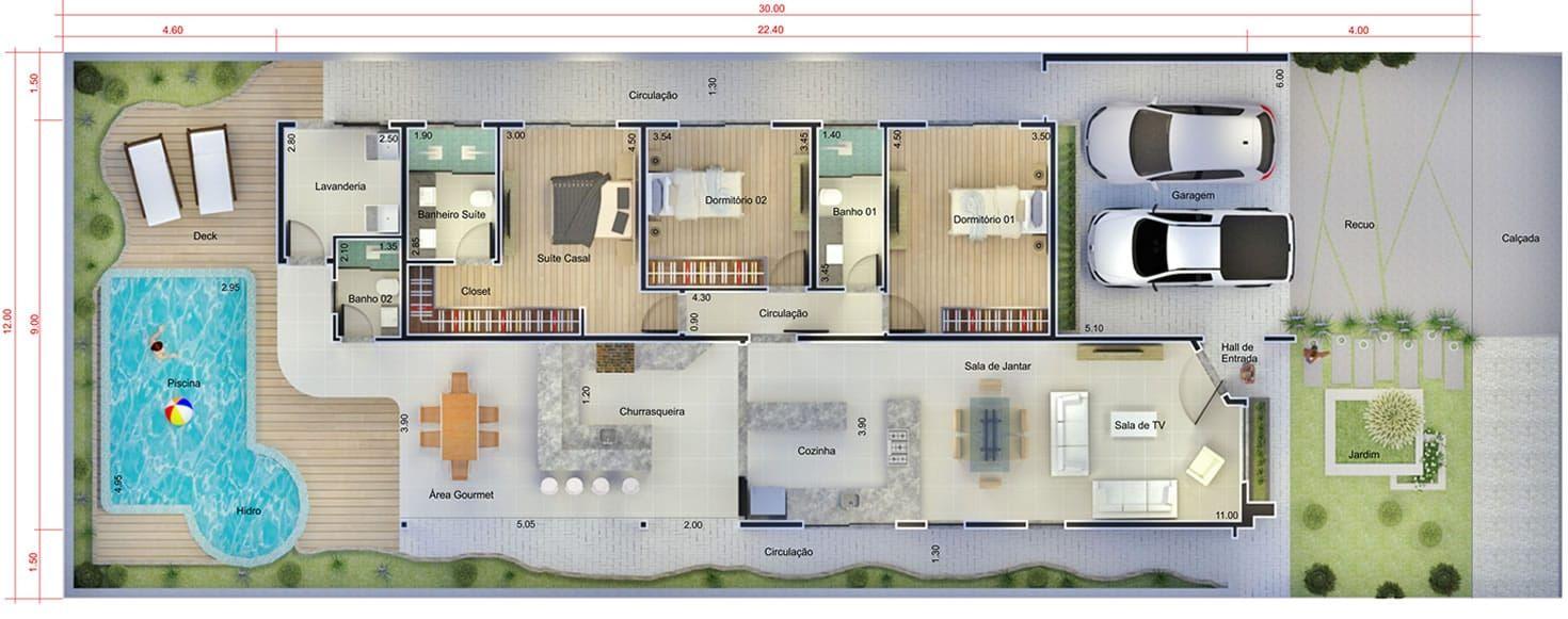 Plano de casa con piscina y hidro plano para terreno for Plano alberca