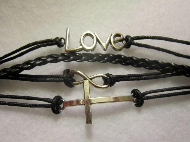 Beautiful Love Cross Infinity Wrap Bracelet.