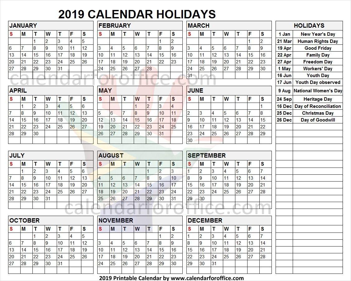 2019 Calendar South Africa Holidays Holiday Calendar Calendar