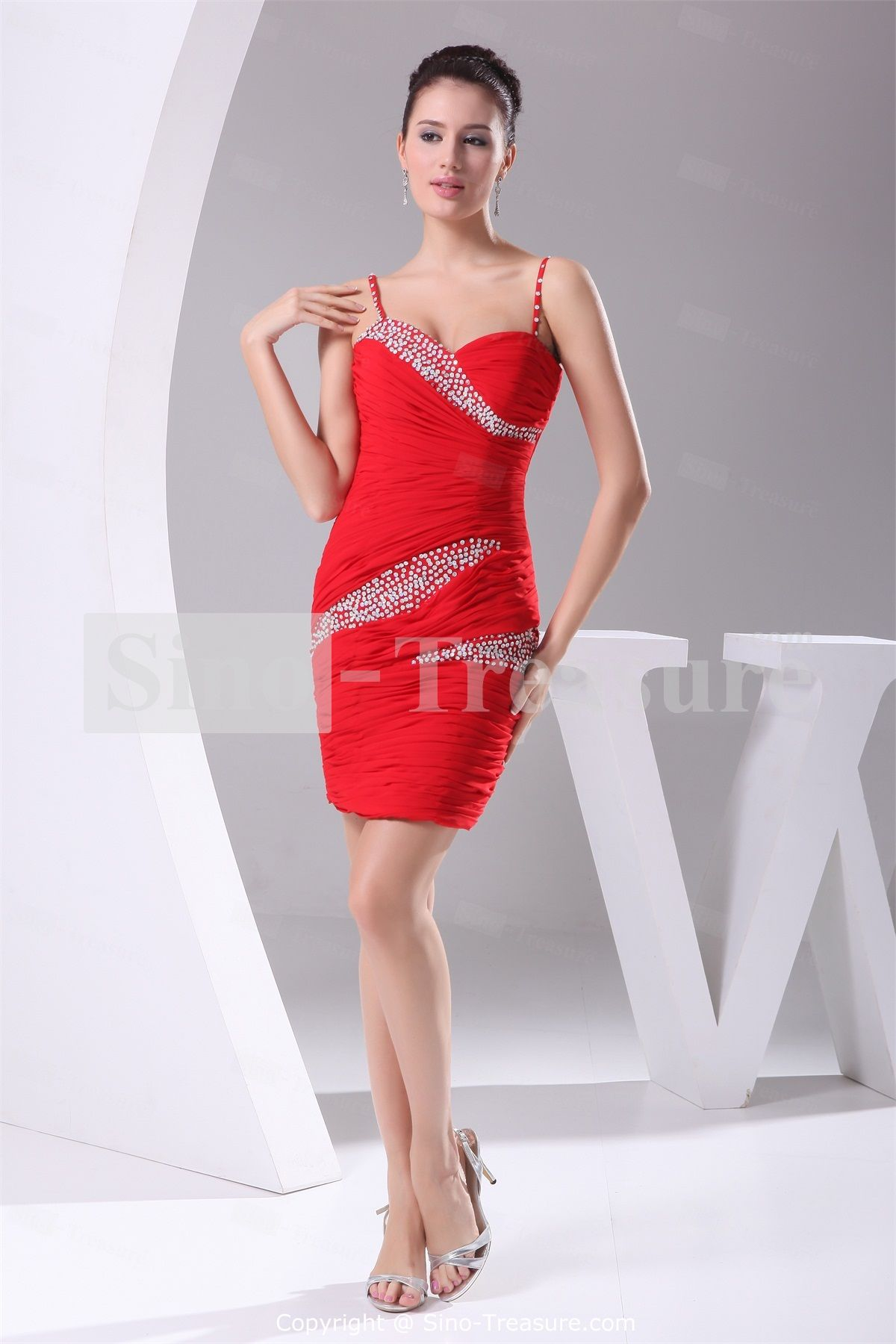 Sleeveless crimson apple short mini sheath column cocktail dresses
