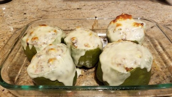 Precook Green Bell Peppers In The Microwave To Shorten The Baking Time For Tender Cheesy Stuffed Peppers With Gr Baked Stuffed Peppers Stuffed Peppers Recipes