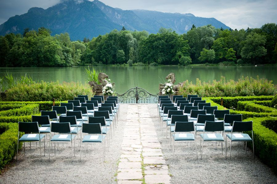 Look familiar? The grounds of the palace that was the inspiration for the Von Trapp family's villa in The Sound of Music! Wedding Venue: Schloss Leopoldskron in Salzburg, Austria / Photography by claire-morgan.com. Destination wedding featured on http://StyleMePretty.com/destination-weddings/2012/04/26/austrian-wedding-at-schloss-leopoldskron-by-claire-morgan-photography
