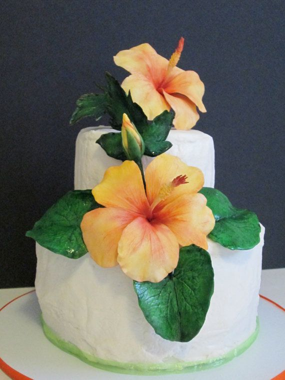 Sugar Flowers Hibiscus Cake Topper Edible Gum Paste Tropical Orange