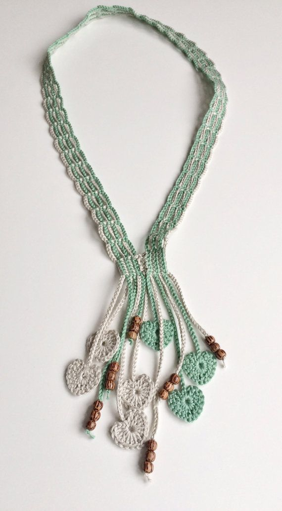 Limestone and orchard hearts long beaded crochet necklace   Annettes ...