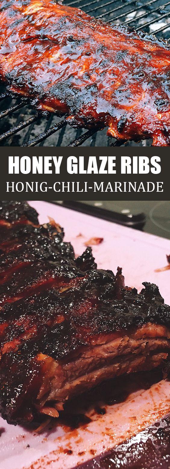 Spareribs mit Honig-Chili-Marinade | Honey Glaze Ribs | Rezept