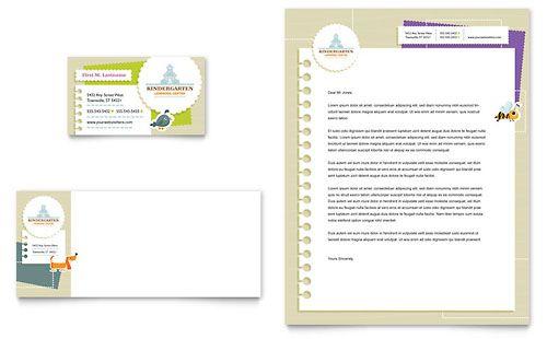 Kindergarten Business Card  Letterhead Template Design