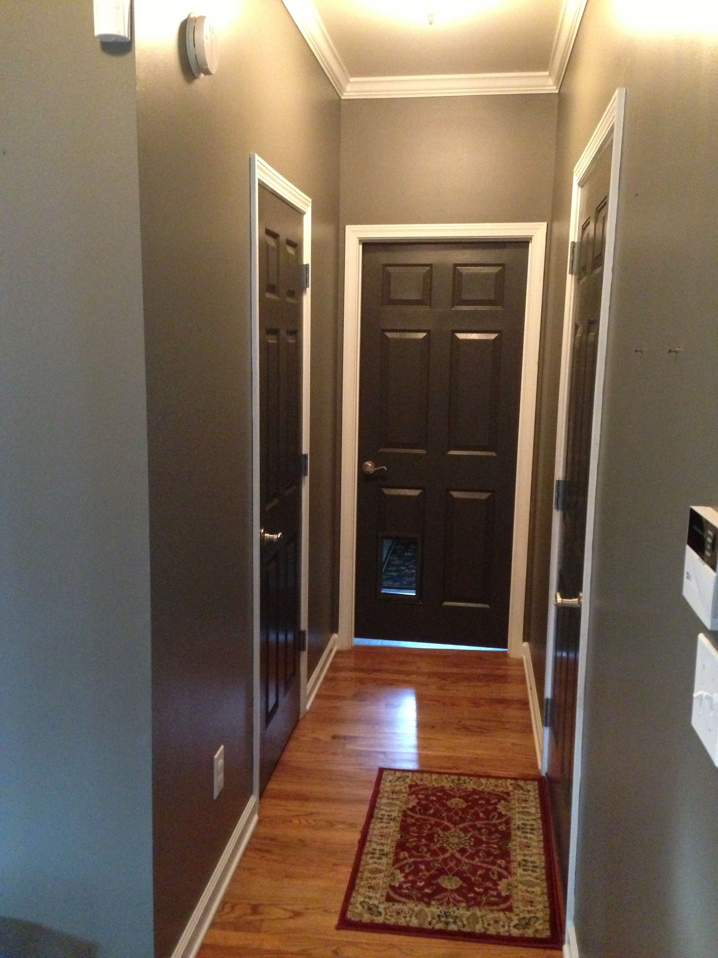 Grey walls and black brown doors crisp white trim