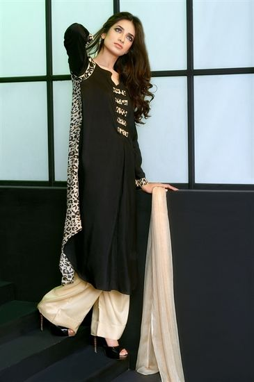 f9f5738382 Animal Print Linen Kameez With 'Plaso'Trousers and Printed Dupatta ...