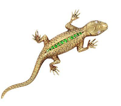 Demantoid Garnet Lizard Brooch
