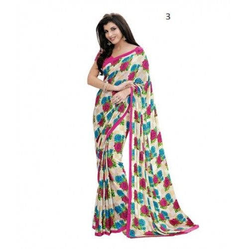 Women Daily Wear White Floral Print Crepe Saree