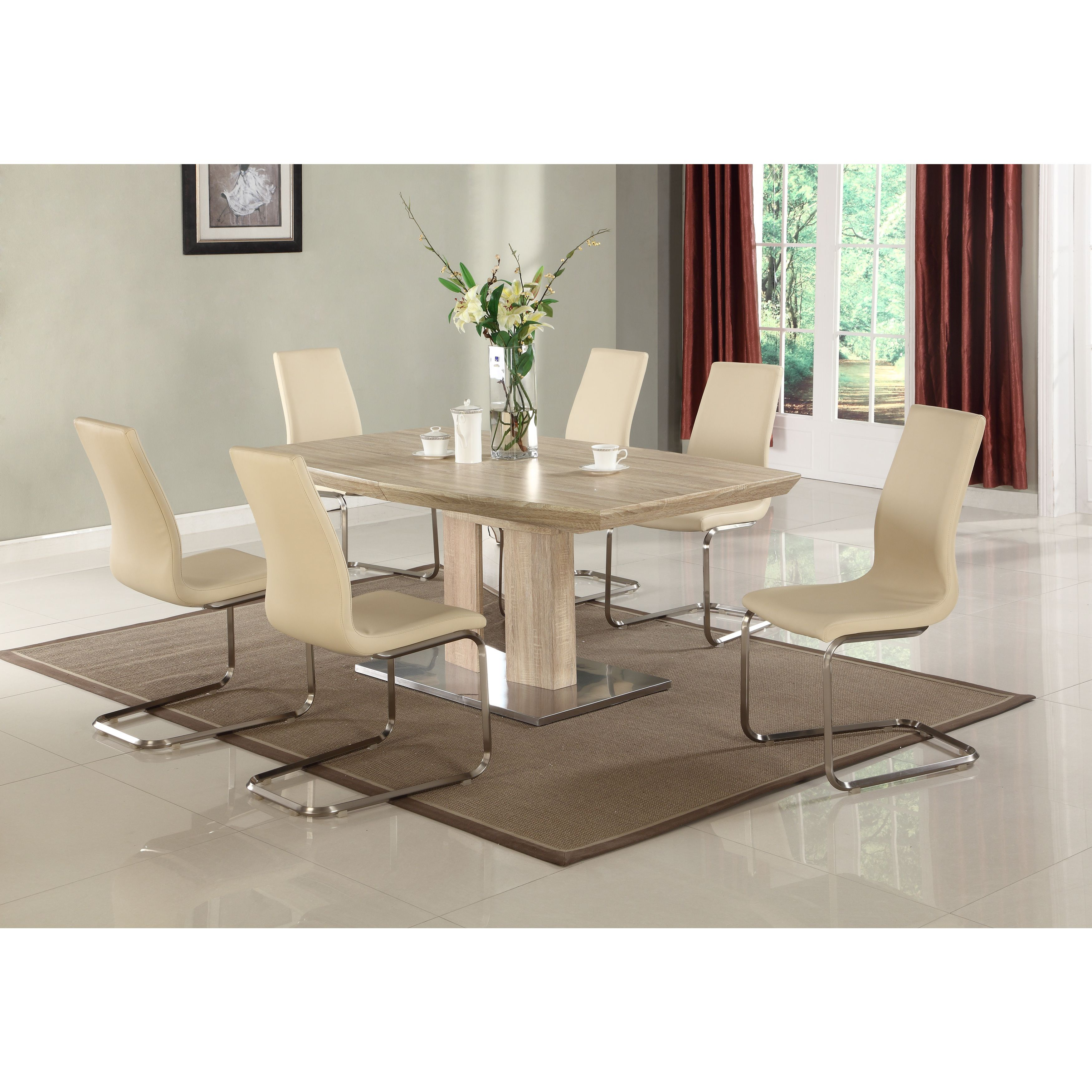 This Modern Light Oak Dining Table Will Add Style To Any Dining Area. The  Table Is Finished In Light Oak 3D Paper With A Stainless Steel Base.