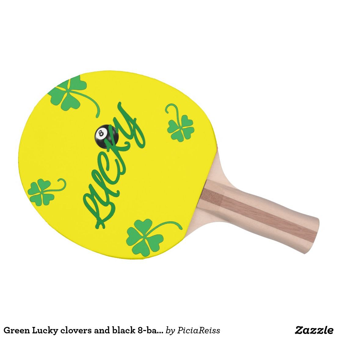Green Lucky clovers and black 8-ball cool design Ping Pong Paddle