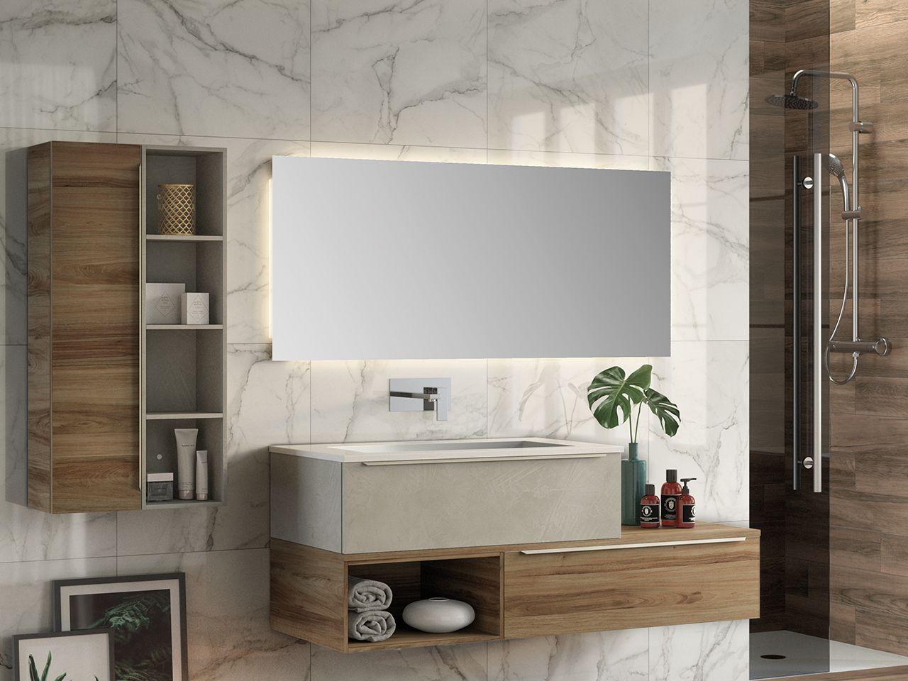 Mobile Bagno Trendy 141 Cm 2 Cassetti Lavabo Resina Bianco Lucido Iperceramica Mobile Bagno Bagno Cassettiere